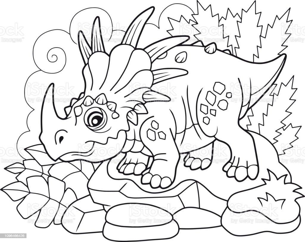Sevimli Tarih Oncesi Dinozor Styracosaurus Boyama Kitabi Komik