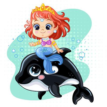 Cute pretty mermaid riding on an orca vector cartoon illustration