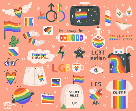 Cute pride symbols. Hand drawn lgbtq pride rainbow, peace sign and flag, pride month symbols and lettering. Lgbtq elements vector illustration set