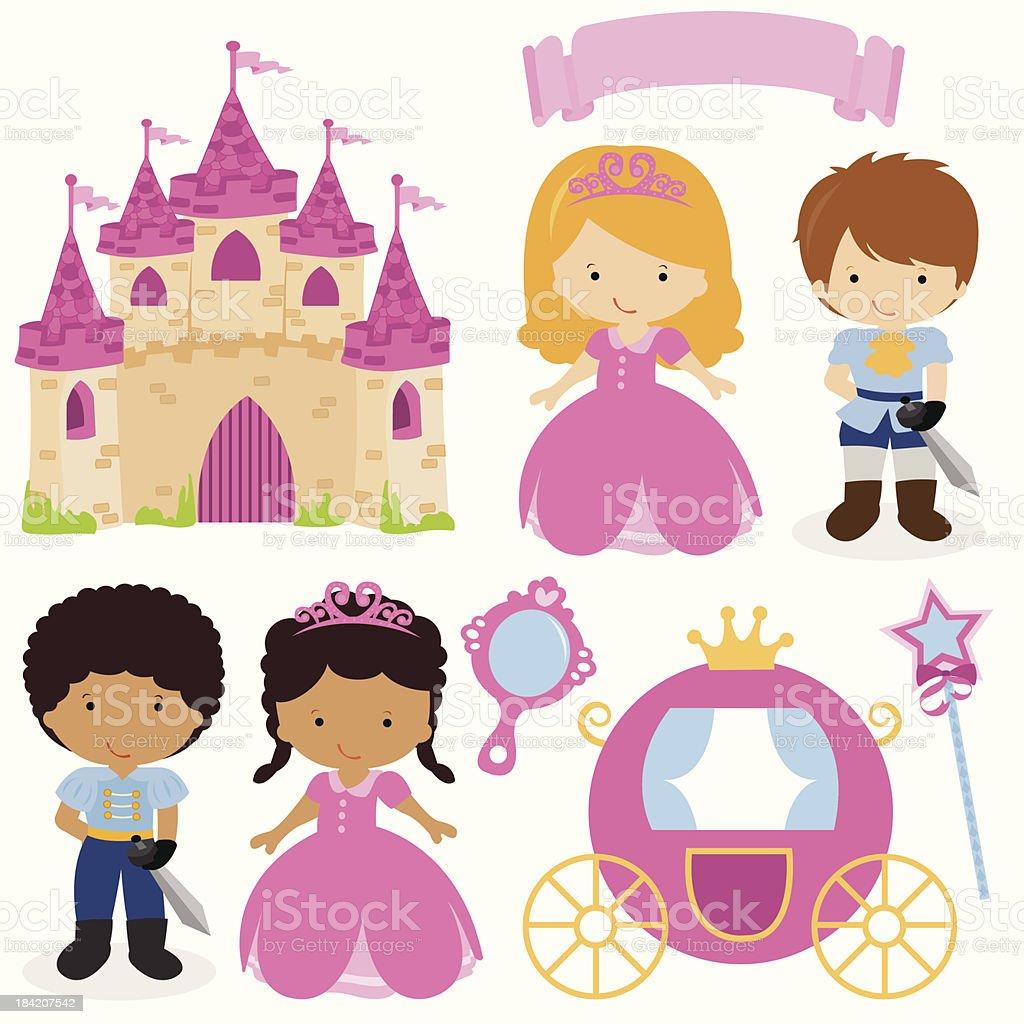 Cute Princess and Prince Fairy Tale vector art illustration