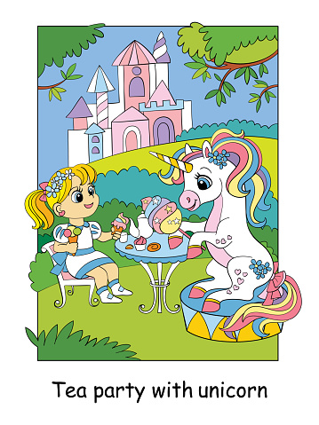 Cute princess and unicorn drink tea with sweets vector