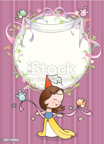 istock Cute princess bird flower frame card 165748663