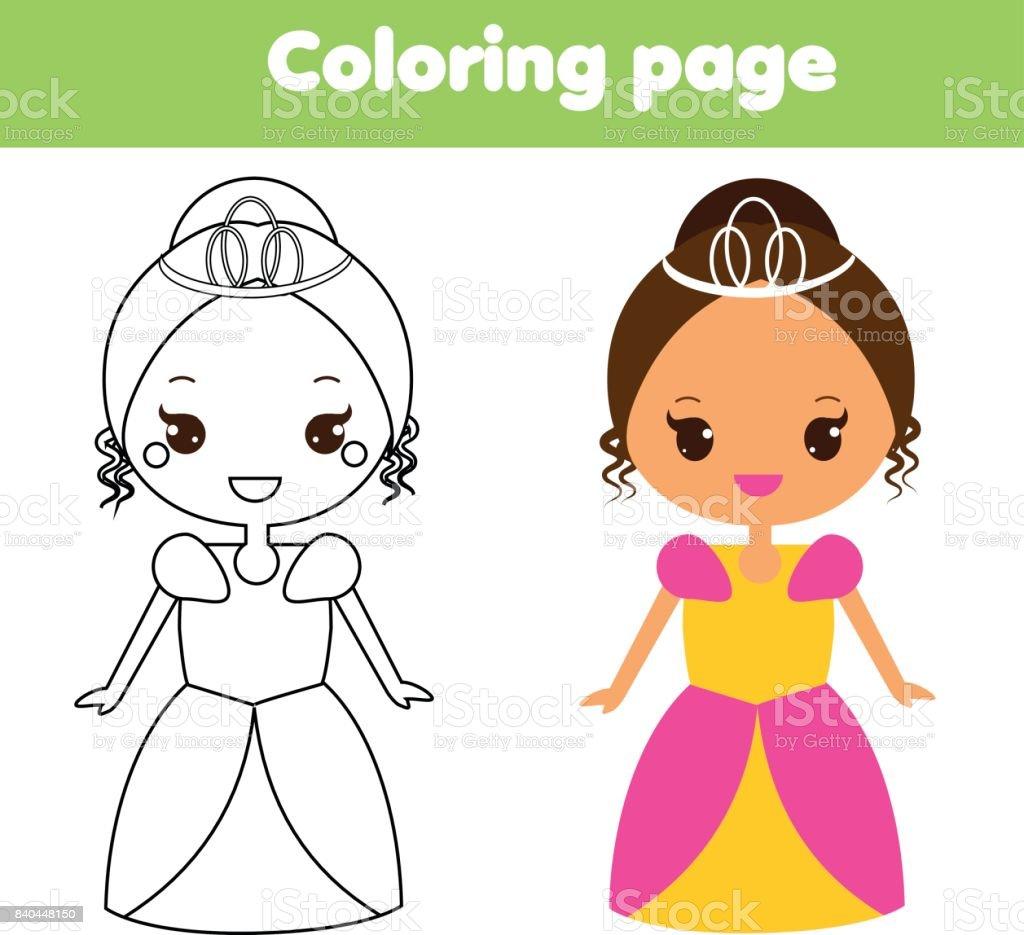 Ilustración de Linda Princesa Página Para Colorear Juego Educativo ...