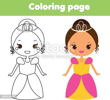 istock Página para colorear para niños. Princesa. Dibujo juego de ...