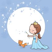 Little princess blowing a dandelion flower in the wind. Can be used for a greeting card or invitation.