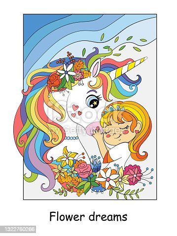 Cute princess hugs with unicorn with flowers vector