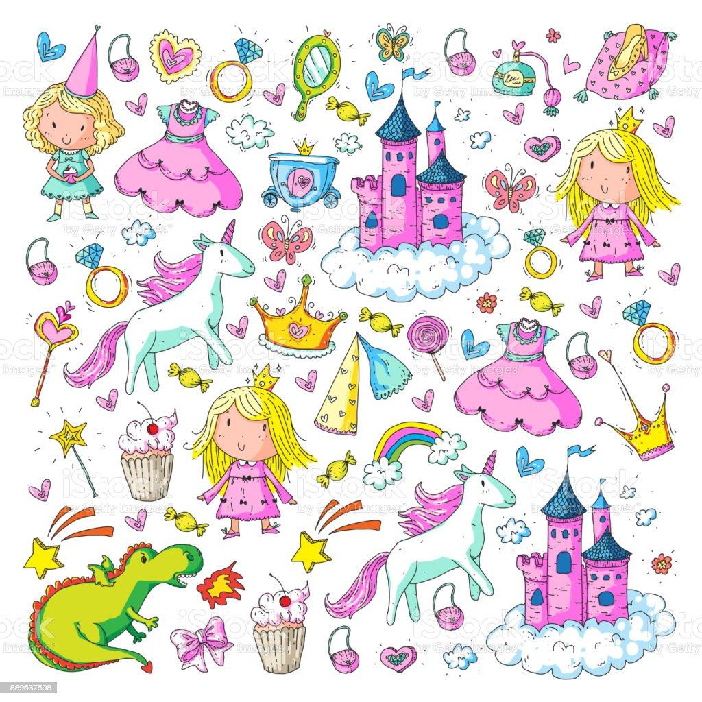 Schattige Prinses Icons Set Met Eenhoorn Draak Meisje Behang Baby