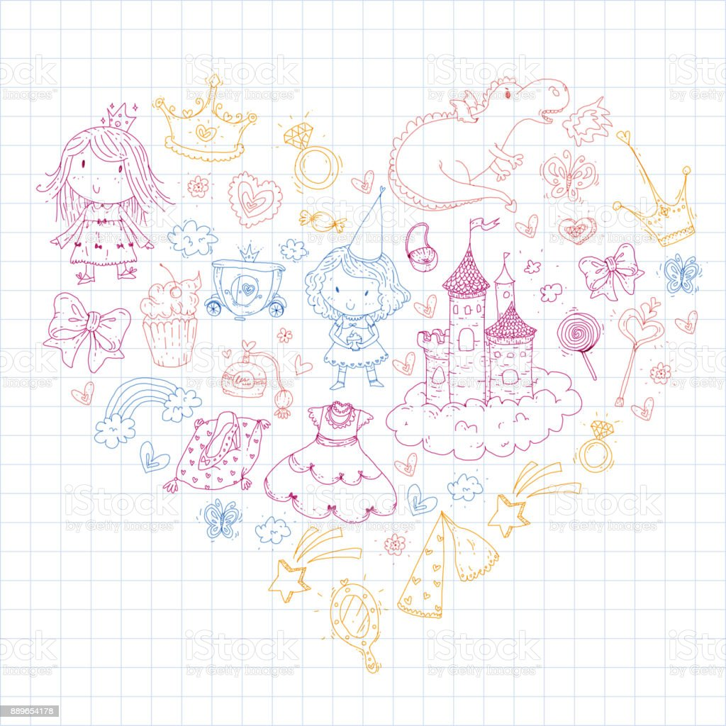 Cute princess icons set with unicorn dragon girl wallpaper baby cute princess icons set with unicorn dragon girl wallpaper baby shower invitation kindergarten preschool stopboris Choice Image