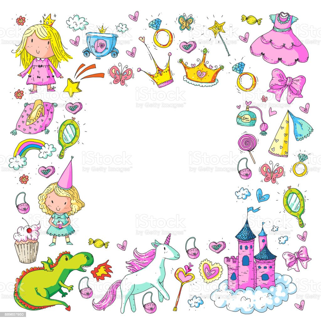 Cute Princess Icons Set With Unicorn Dragon Girl Wallpaper Baby ...