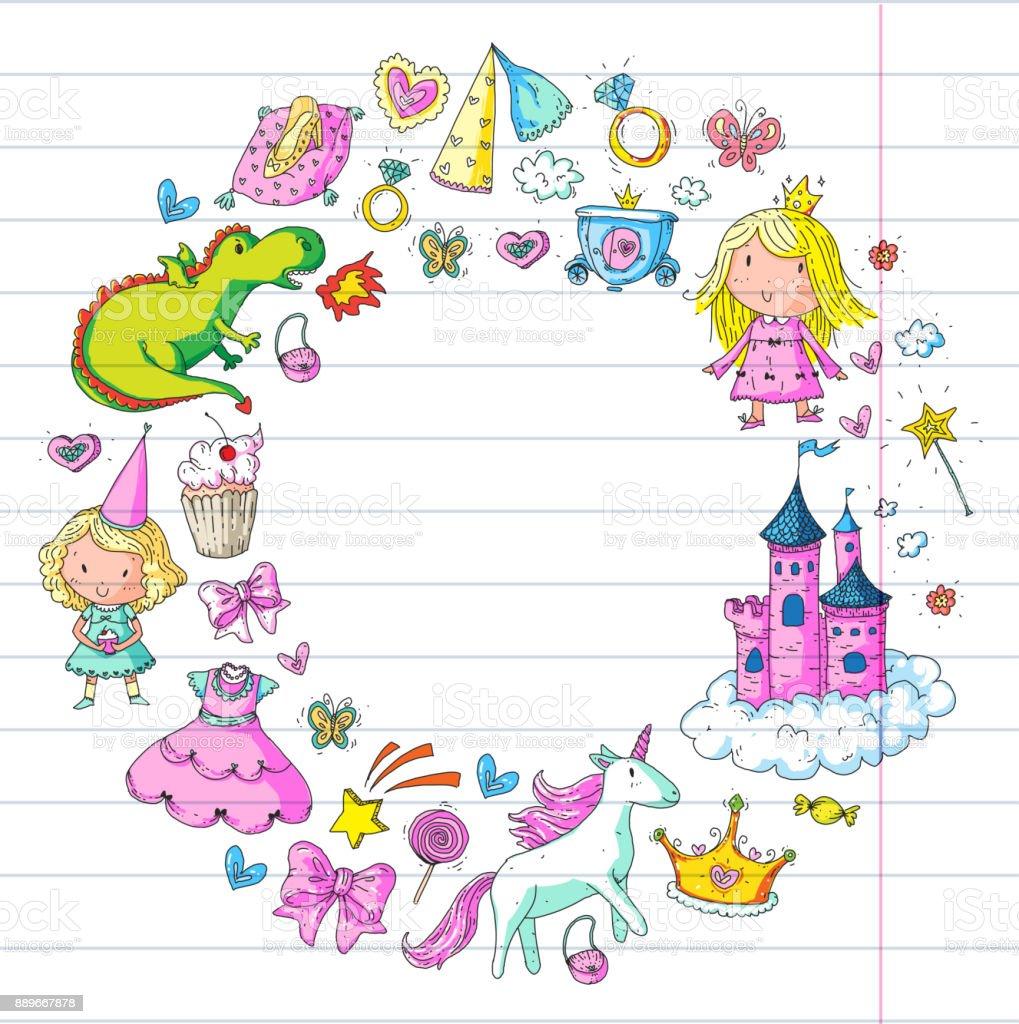 Cute Princess Icons Set With Unicorn Dragon Girl Wallpaper Baby ...