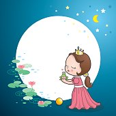 Little princess kissing a frog, could he be prince charming? Can be used for a greeting card or invitation.
