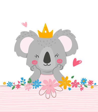 Cute princess koala design, template for invitation card, napkins design,cups,plates.Modern vector illustration in flat style.