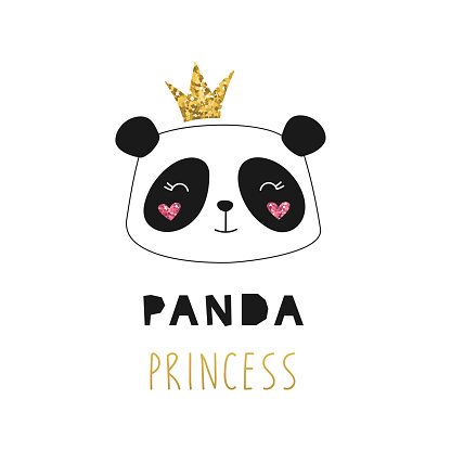Cute princess panda, golden glitter crown. Girlish print for textiles, postcards. Vector isolated illustration on a white background for children.