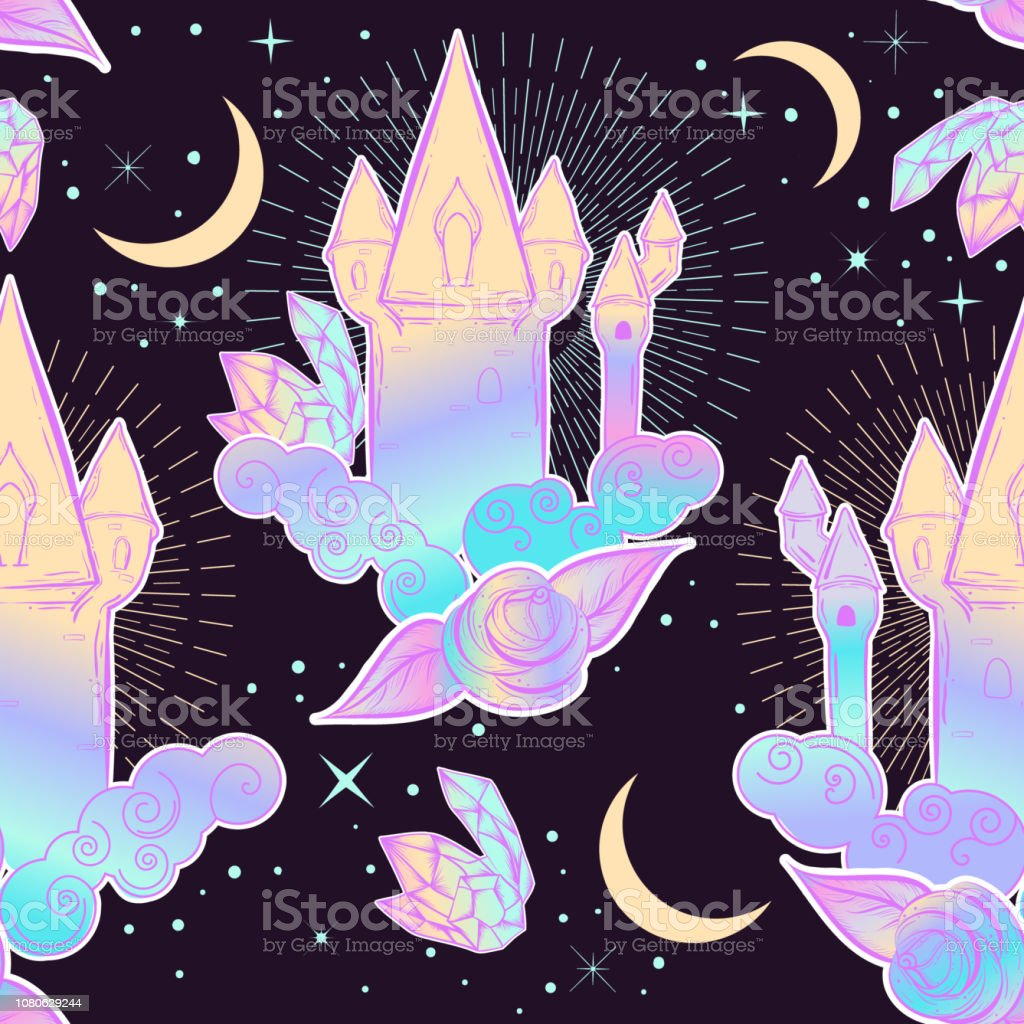 Cute Princess Pattern With Castle Clouds Roses And Gems Girly Childish  Print At 90s Style Stock Illustration - Download Image Now
