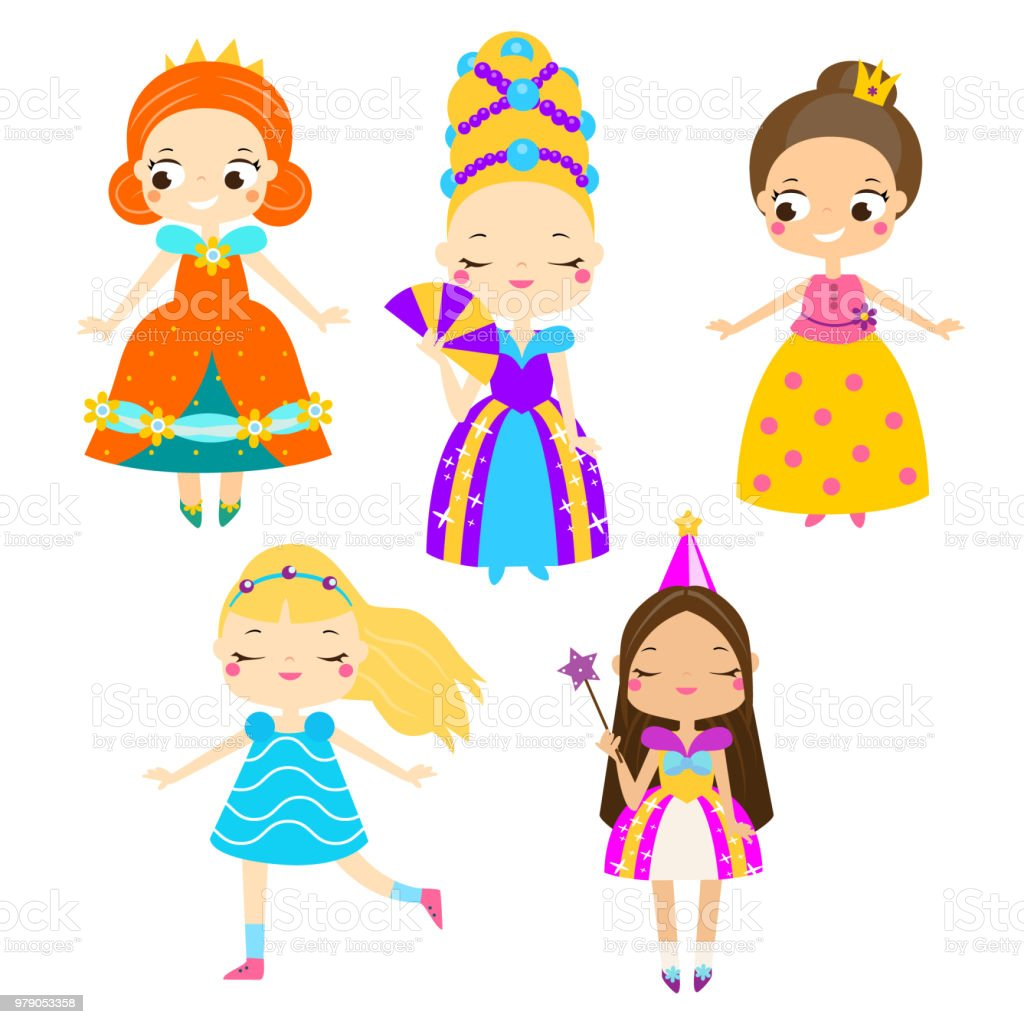 Cute princess set girls in queen dresses vector collection of cartoon fairy tales characters