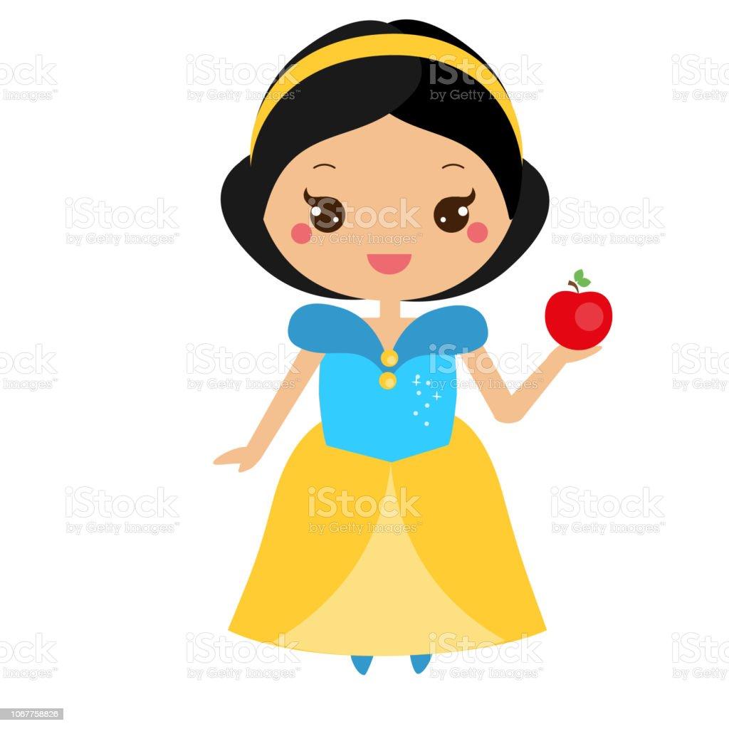 Linda princesa con apple. Personaje de Blancanieves. Ilustración de vector de estilo kawaii - ilustración de arte vectorial