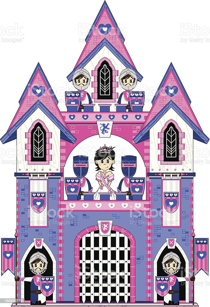 Cute Princess with Royal Guards at Castle royalty-free stock vector art