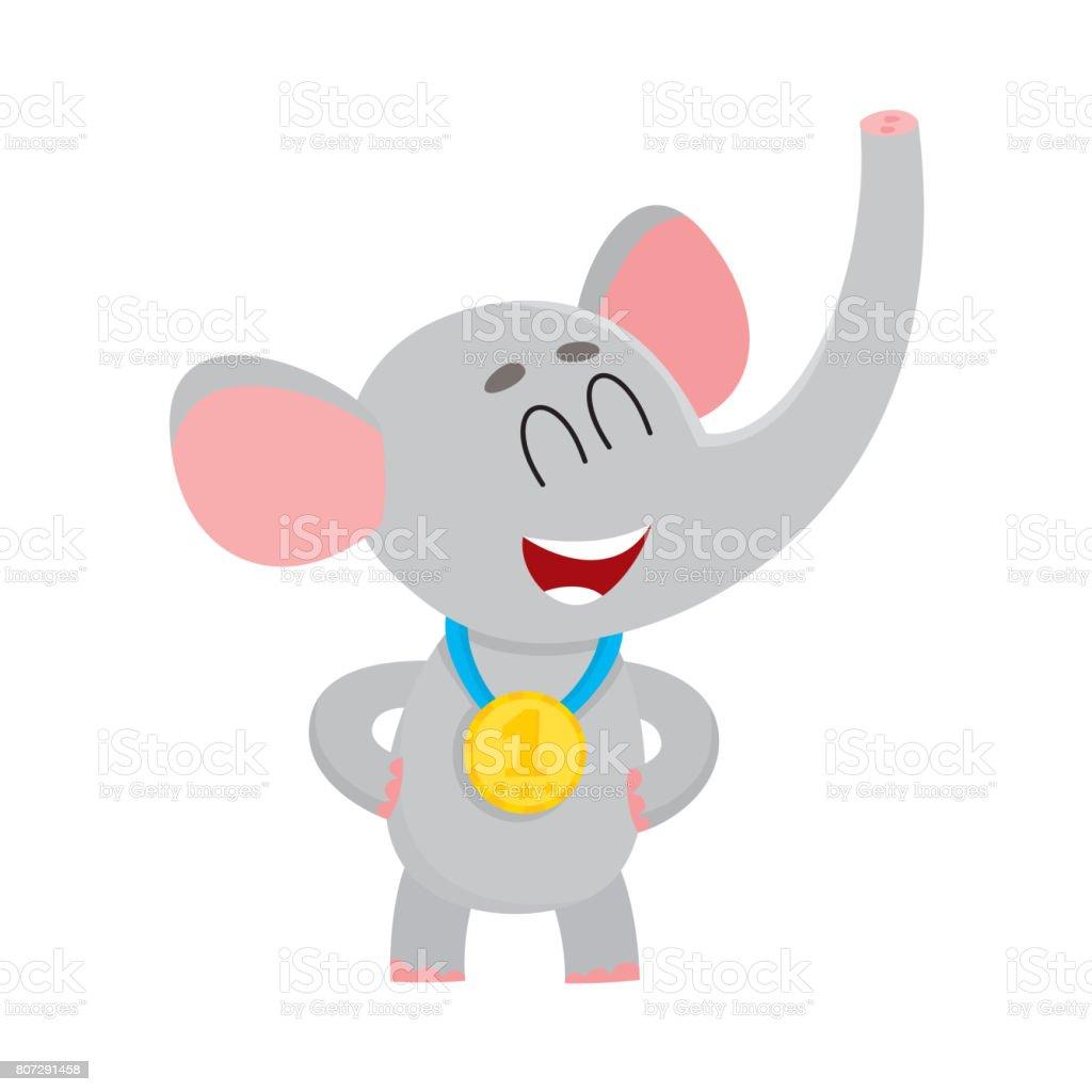 チャンピオン黄金の勝者メダルを着てかわいい誇りのゾウのキャラクター