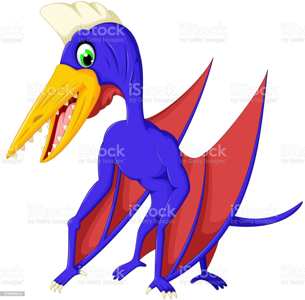 cute pterodactyl cartoon for you design vector art illustration