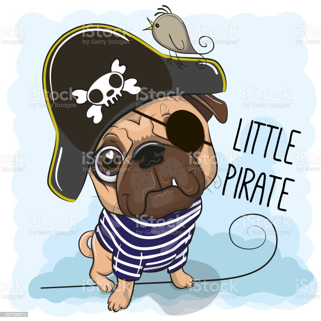 2ed524788da Cute Pug Dog In A Pirate Hat Stock Vector Art   More Images of ...