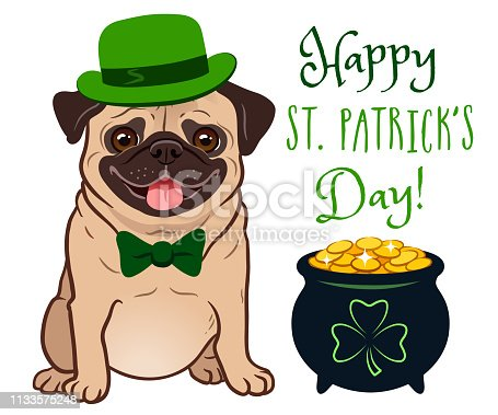 "istock Cute pug dog in St. Patrick's Day costume: green bowler hat and bow tie, pot of gold filled with coins, with shamrock sign. ""Happy St. Patrick's Day!"" text. Irish holiday folklore theme. 1133575248"