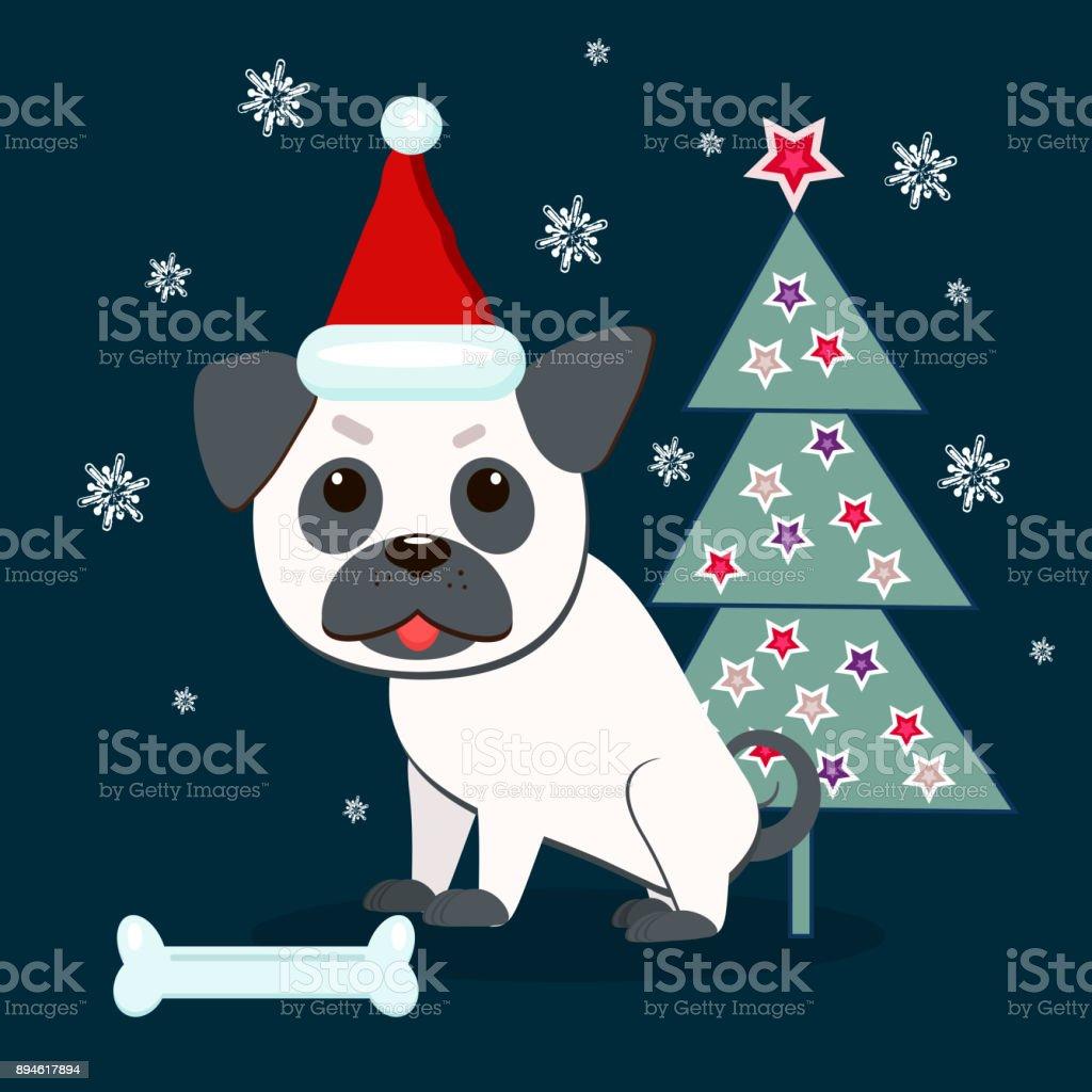 Pug chien avec bonnet de noël sur Personnalisé Noël Carte de vœux