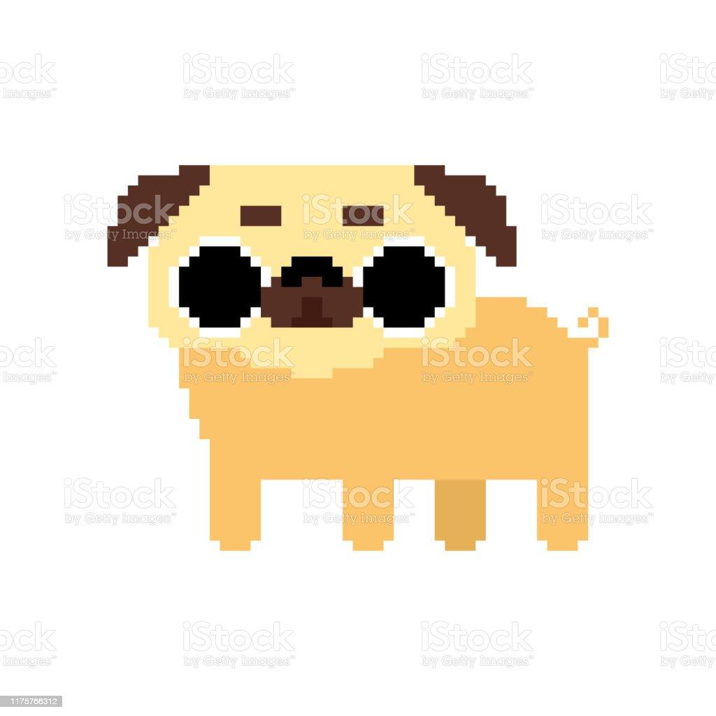 Art Mignon De Pixel De Pug Beau Chien 8 Bits Vecteur Danimal