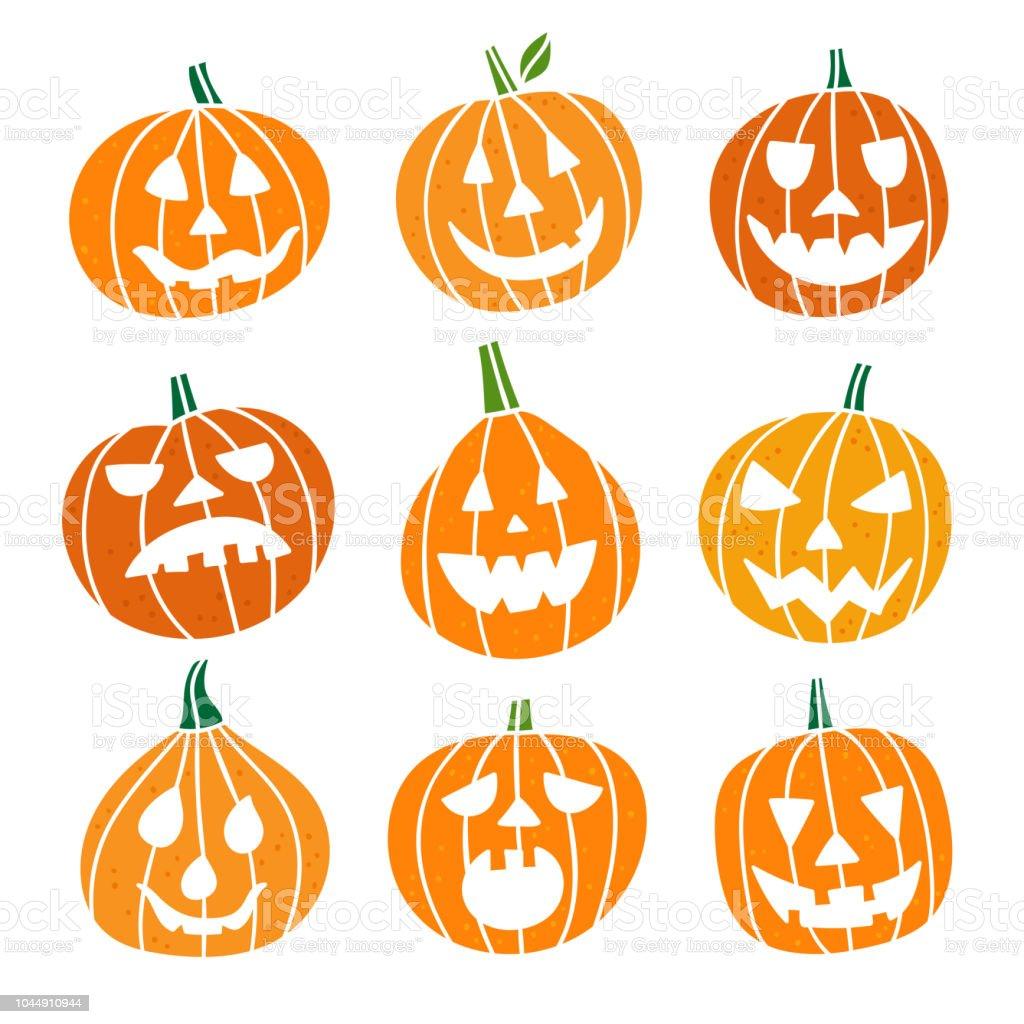 Halloween Pumpkin Vector.Cute Pumpkin Vector Set Pumpkin Emotions Halloween Collection On White Background Stock Illustration Download Image Now