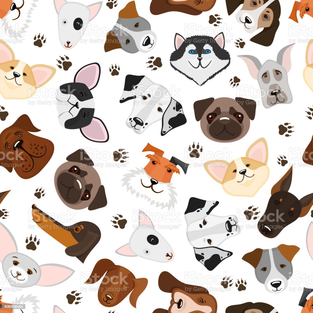 Cute puppy and dog mixed breed seamless pattern vector art illustration