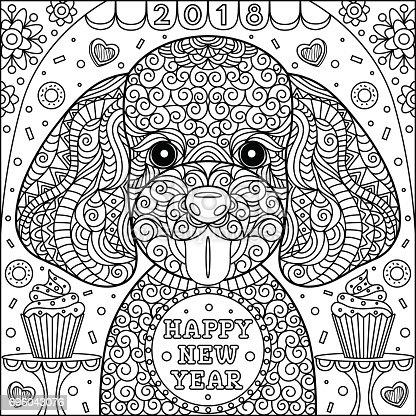 Sevimli Köpek Boyama Sayfası Stok Vektör Sanatı 2018nin Daha