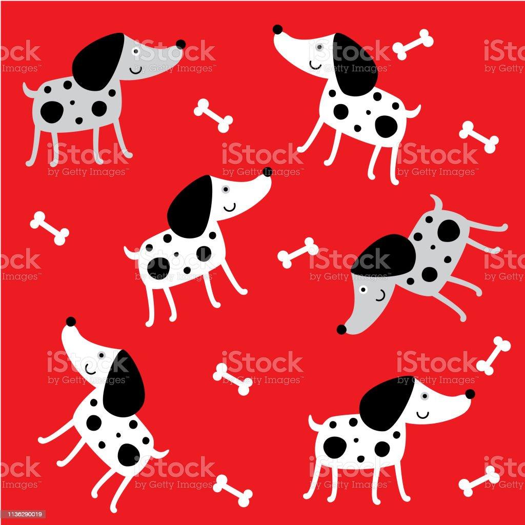 かわいい子犬の犬のパターンの壁紙 いたずら書きのベクターアート