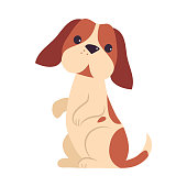 istock Cute Puppy Dog Standing on Hind Legs, Adorable Pet Animal with White and Brown Coat Cartoon Vector Illustration 1324573653