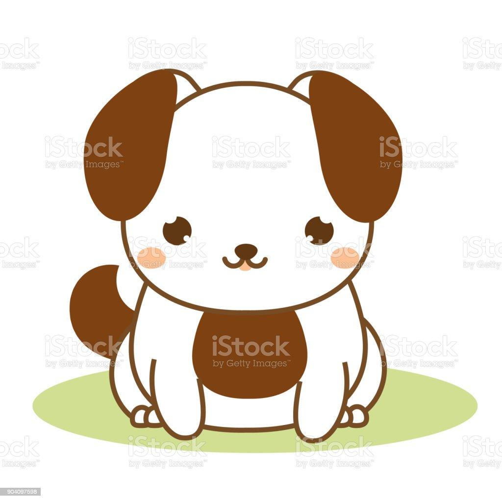 Ilustración De Lindo Cachorro Estilo Kawaii Perro Sentado Personaje