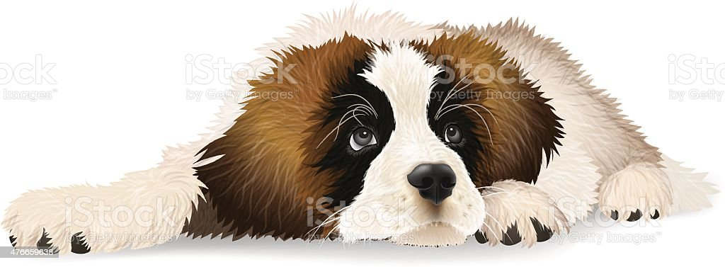 Cute puppy lying sad. vector art illustration