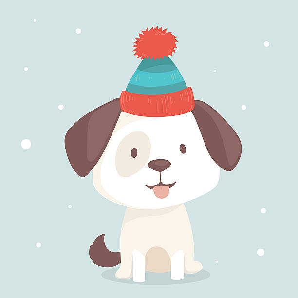 Cute puppy sits in winter hat vector art illustration