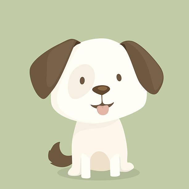Cute puppy sits vector art illustration