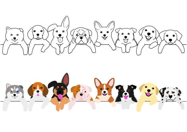 かわいい子犬のボーダー セット ベクターアートイラスト