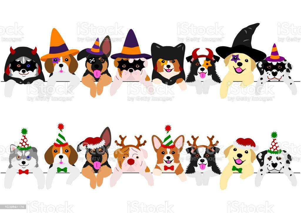かわいい子犬の境界線の設定、ハロウィーンの衣装、クリスマスの衣装と ベクターアートイラスト