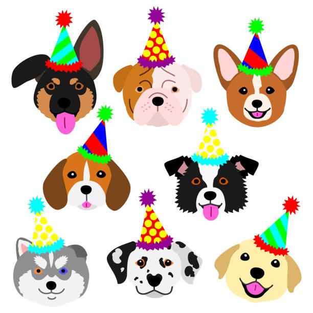 パーティー帽子セットでかわいい子犬顔 ベクターアートイラスト