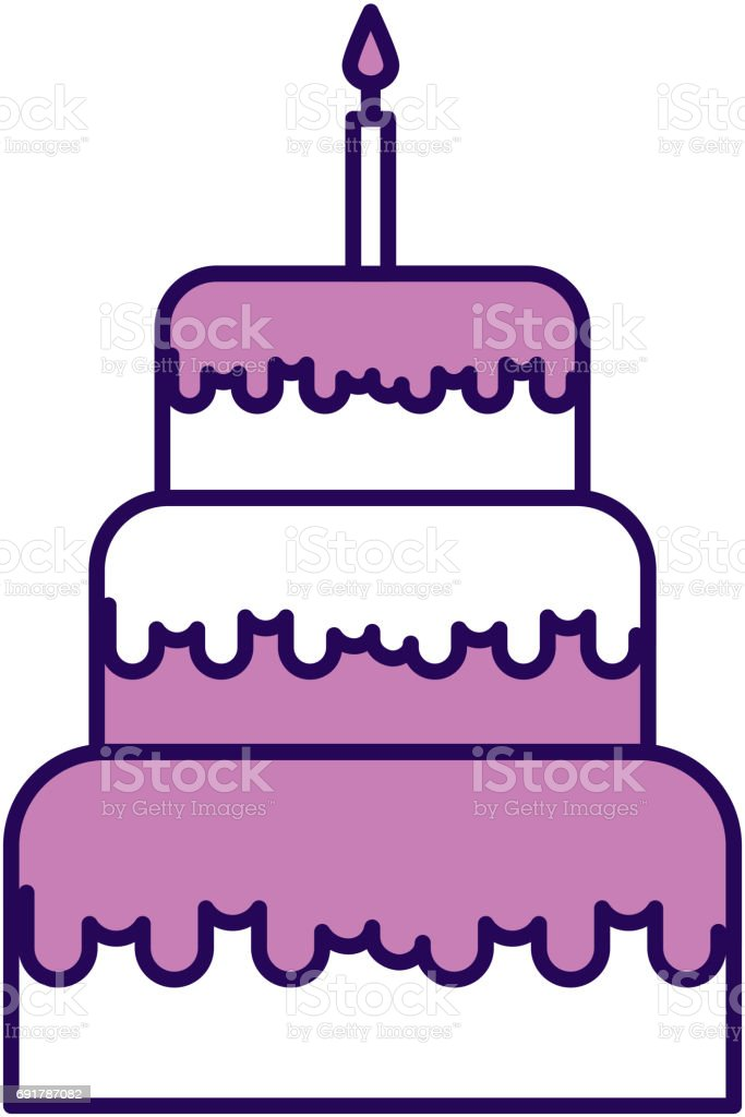 Cute Purple Birthday Cake Cartoon Stock Vector Art More Images of