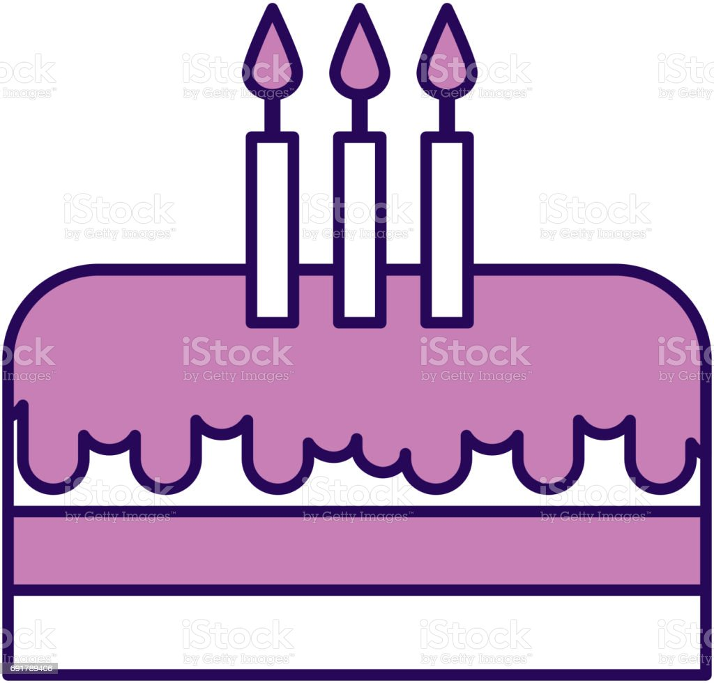 Cute Purple Birthday Cake Cartoon stock vector art 691789406 iStock