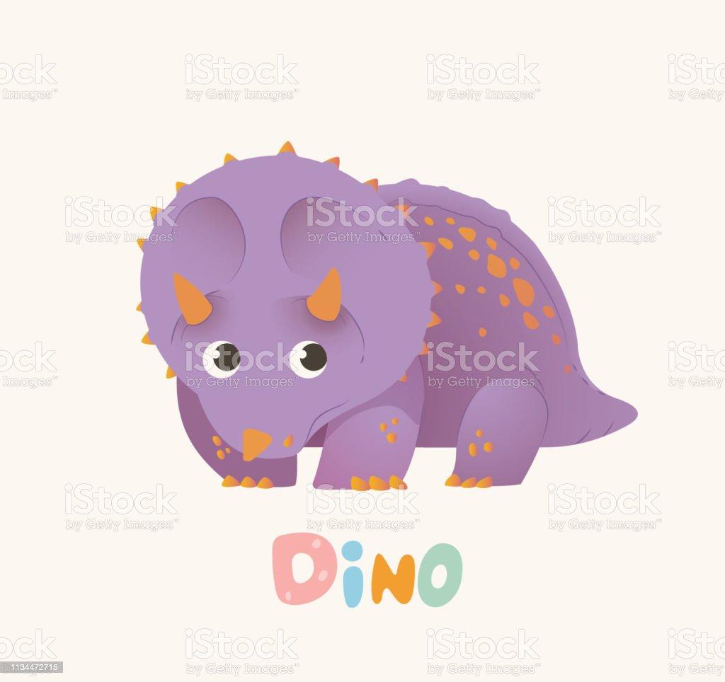 Schattige Paarse Cartoon Baby Dino Heldere Kleurrijke Dinosaurus Kinder Illustratie Geisoleerd Vector Stockvectorkunst En Meer Beelden Van Antiek Toestand Istock