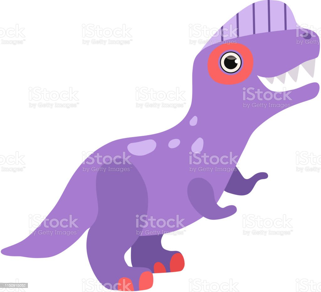 Schattige Paarse Dinosaurus Grappige Baby Dino Cartoon Karakter Vector Illustratie Stockvectorkunst En Meer Beelden Van Allosaurus Istock