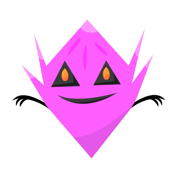 Cute purple ghost with triangular eyes in which the flame is reflected vector art illustration