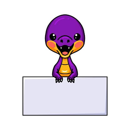 Cute purple little dinosaur cartoon with blank sign