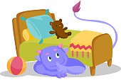 Cute purple monster with tail hiding under the bed