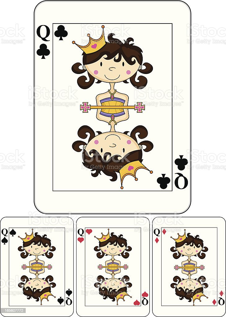 Cute Queen Playing Card royalty-free stock vector art
