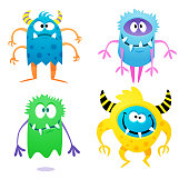 Vector illustration of some hand drawn cute and colorful monsters for using in design projects, book covers, stories for children and young adult readers or any website or design idea or concept