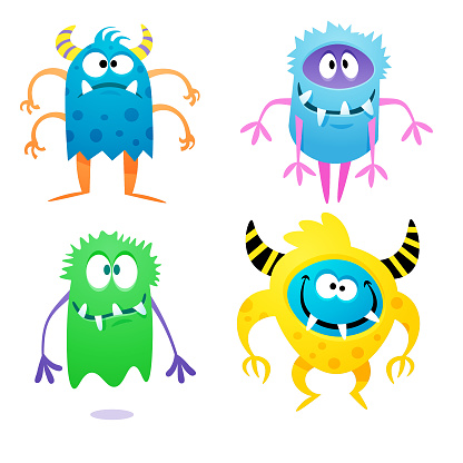 Cute quirky monsters