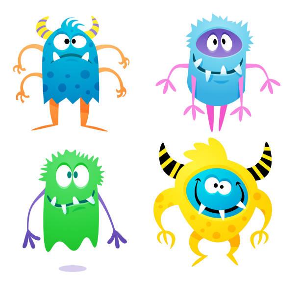 ilustraciones, imágenes clip art, dibujos animados e iconos de stock de lindos monstruos estrafalarios - monstruo
